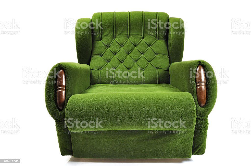 Green Sofa isolated on white stock photo