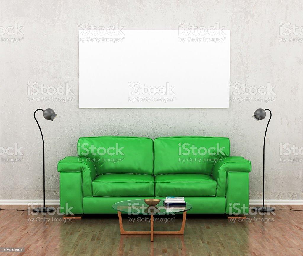 green sofa. stock photo