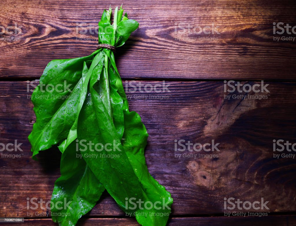 Green sorrel on a brown wooden background stock photo
