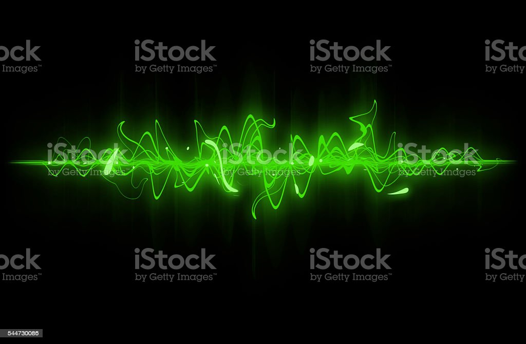 Green sound wave. stock photo