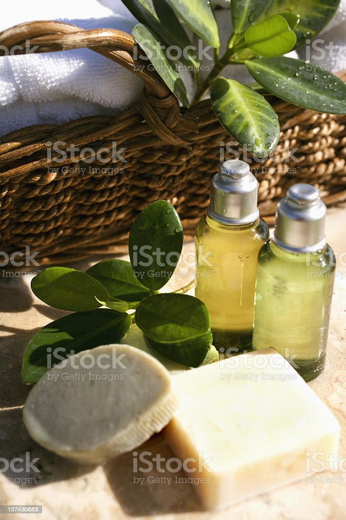 Green Spa Products royalty-free stock photo
