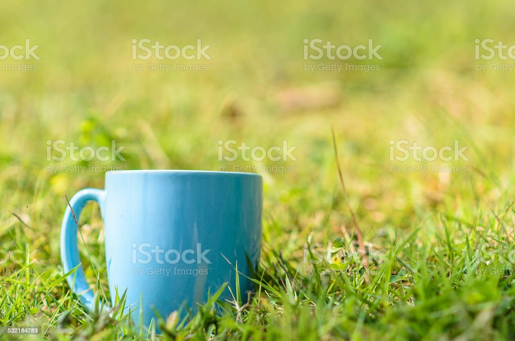 Green space with blue coffee mug outdoor.