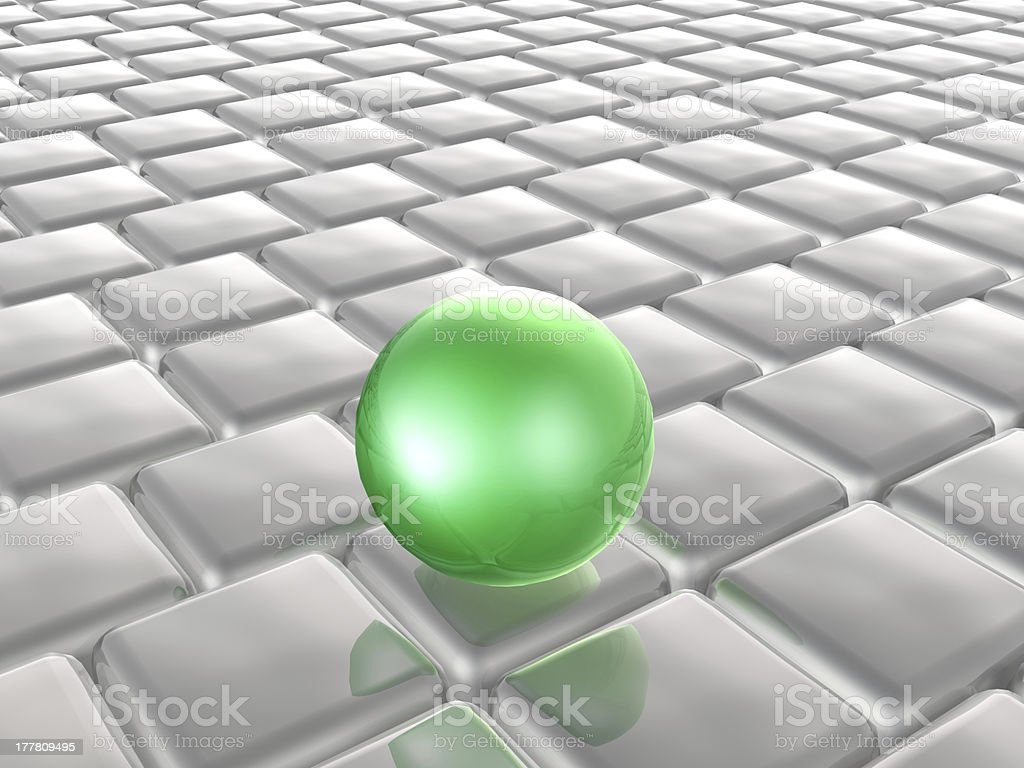 Green sphere and grey cubes royalty-free stock photo