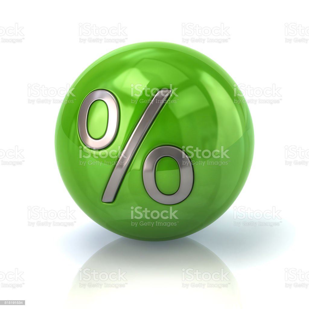Green sphere with the percent symbol stock photo