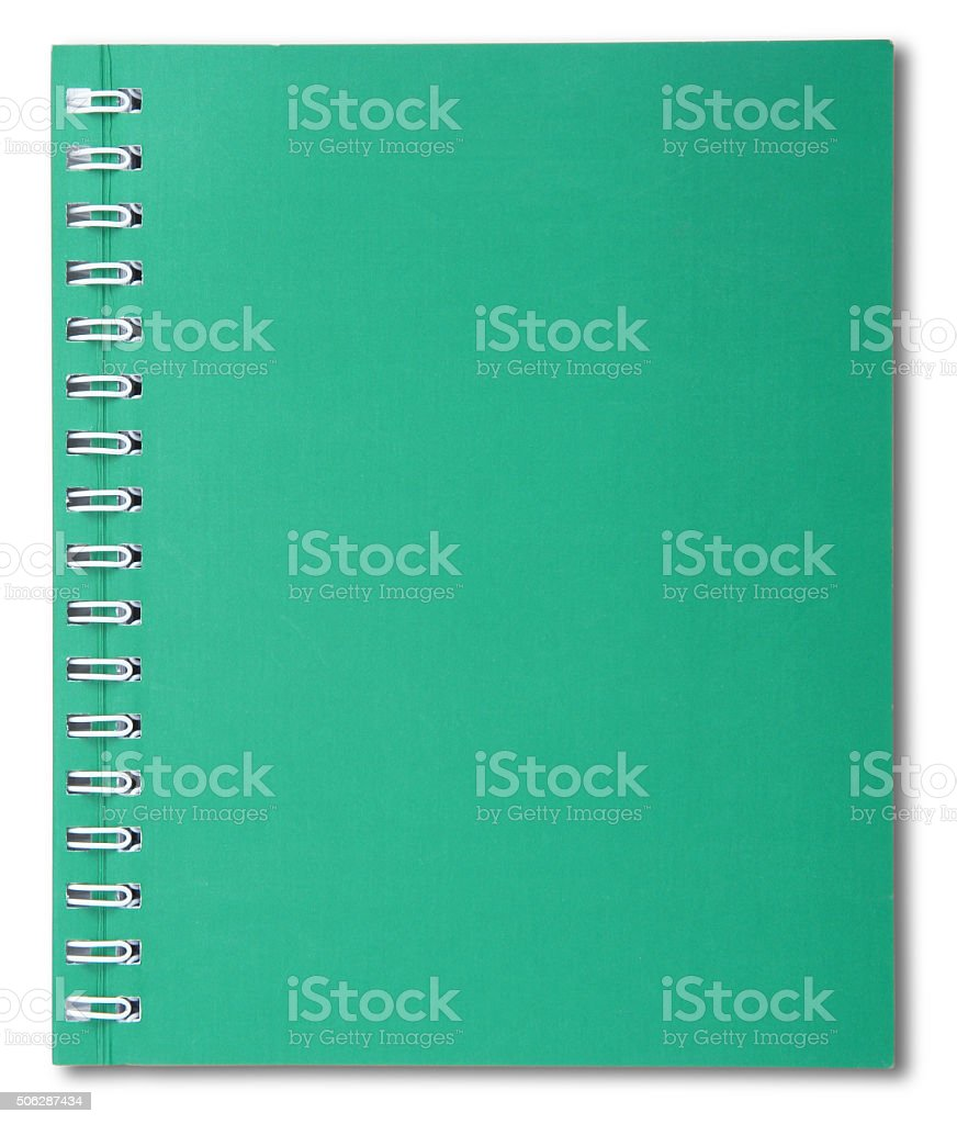 Green spiral notebook stock photo