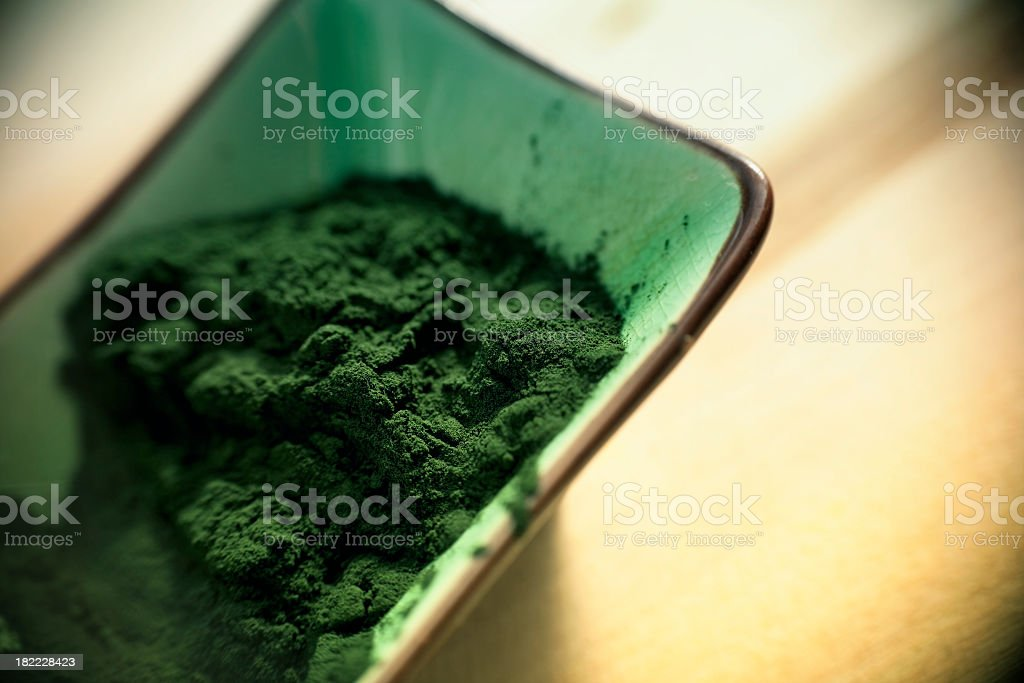 Green Spirulina Powder stock photo