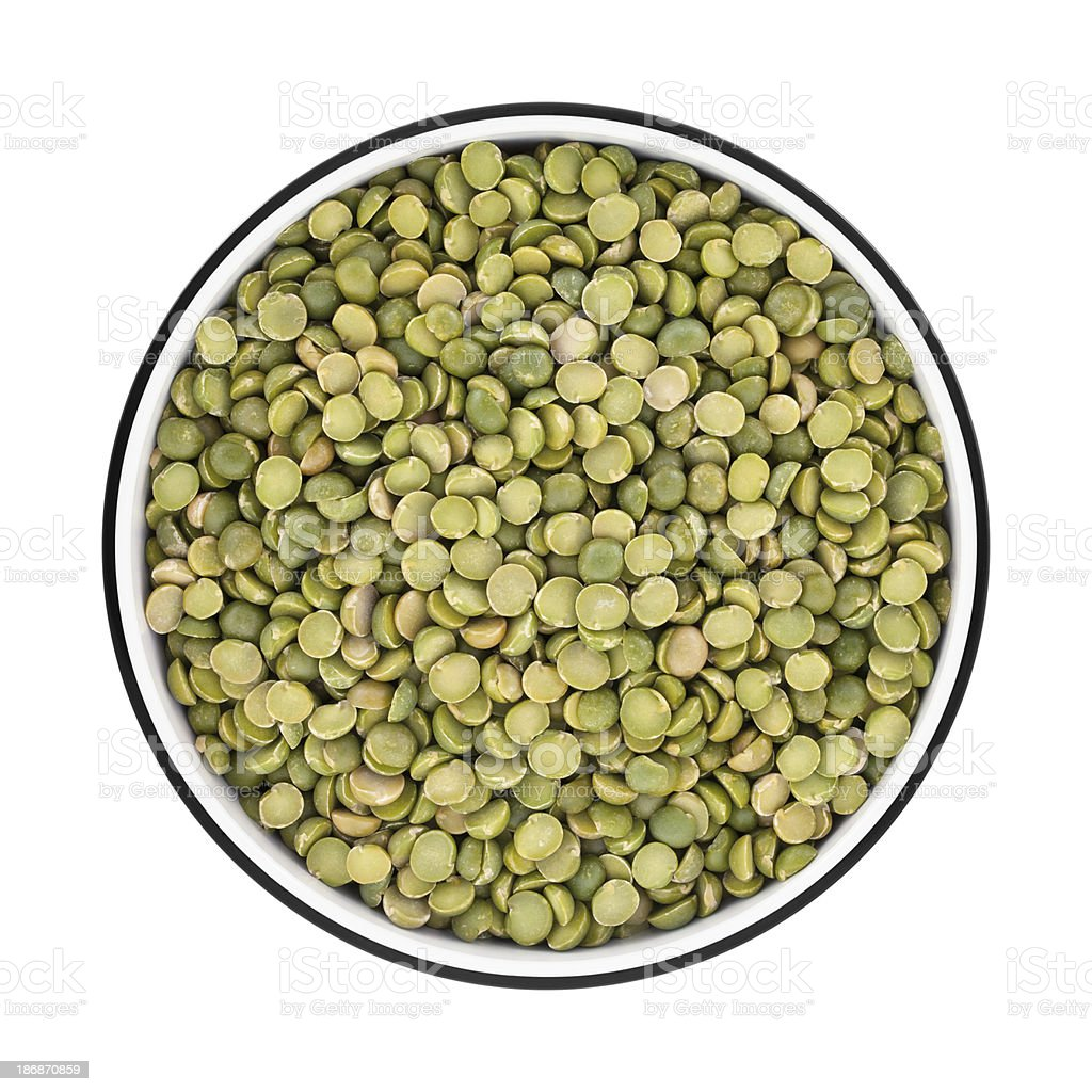 Green Split Pea in a bowl from directly above stock photo