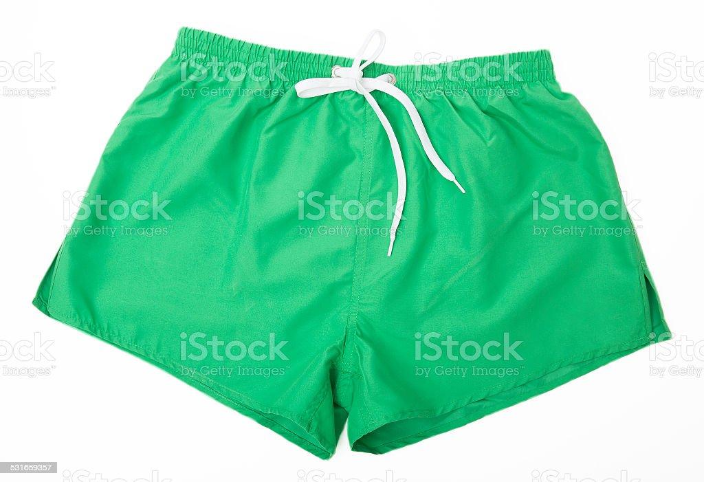 Green Sport shorts isolated stock photo