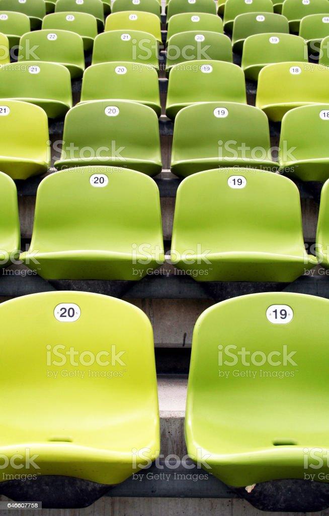 Green sport stadium seats stock photo