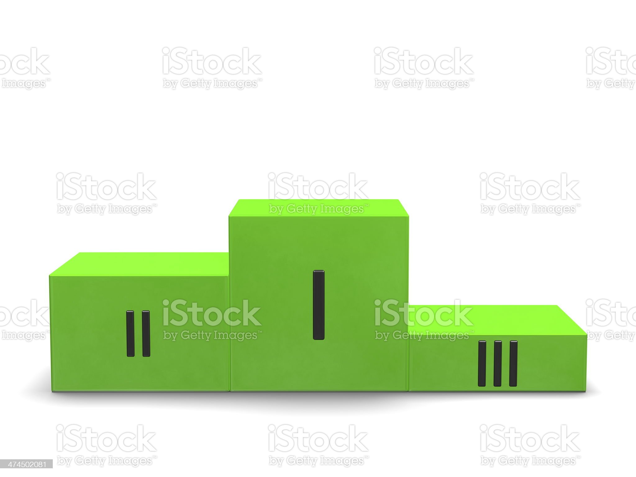 Green sports victory podium with black Roman numerals. Front view royalty-free stock photo