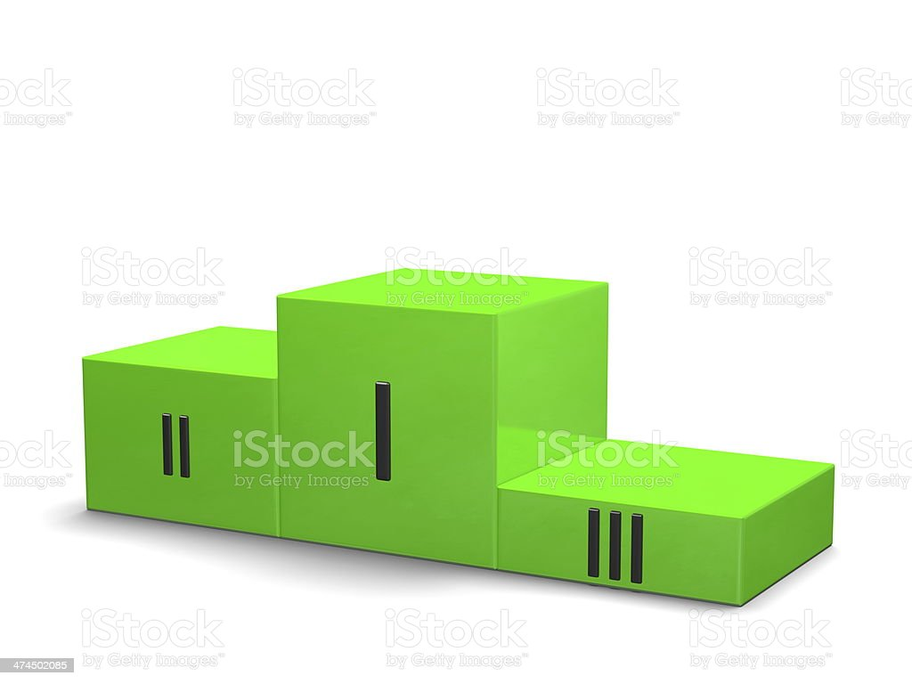 Green sports victory podium with black Roman numerals royalty-free stock photo