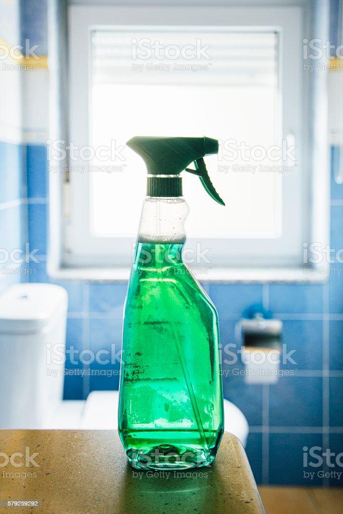 Green spray - Bath cleaner stock photo