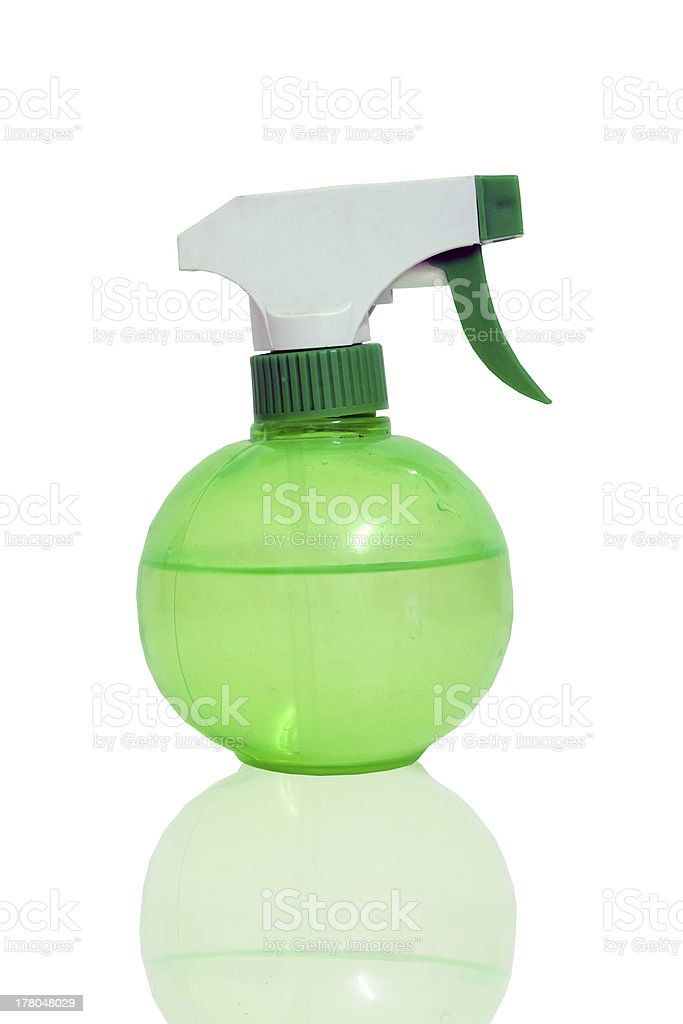 green spray bottles. royalty-free stock photo