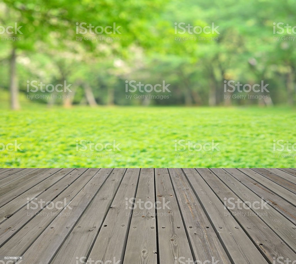 Green spring background with empty wooden platform stock photo