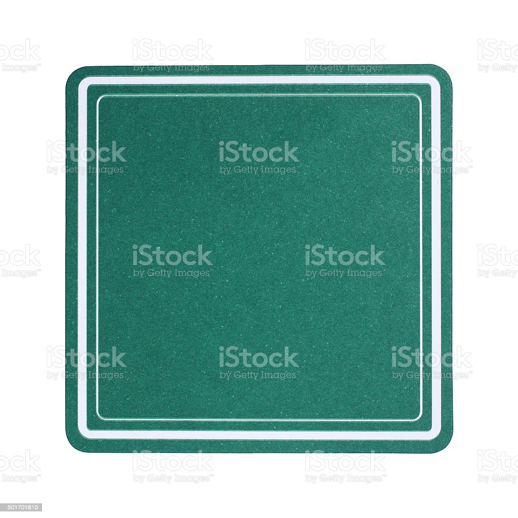 Green square paper coaster isolated on white stock photo