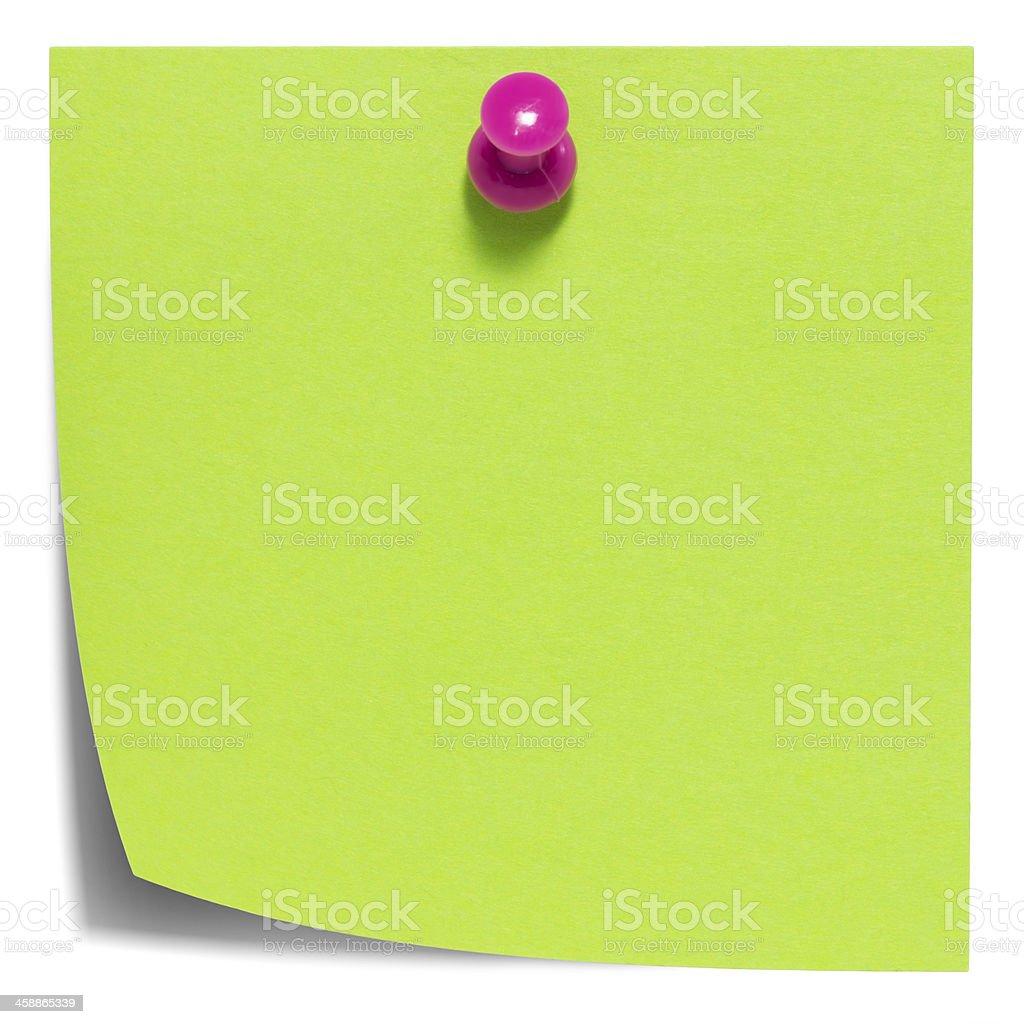 Quadrato verde foglietto adesivo, con una rosa pin, isolato foto stock royalty-free