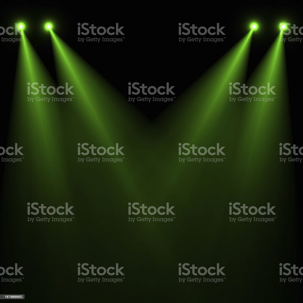 A green stage lights on a dark background royalty-free stock photo