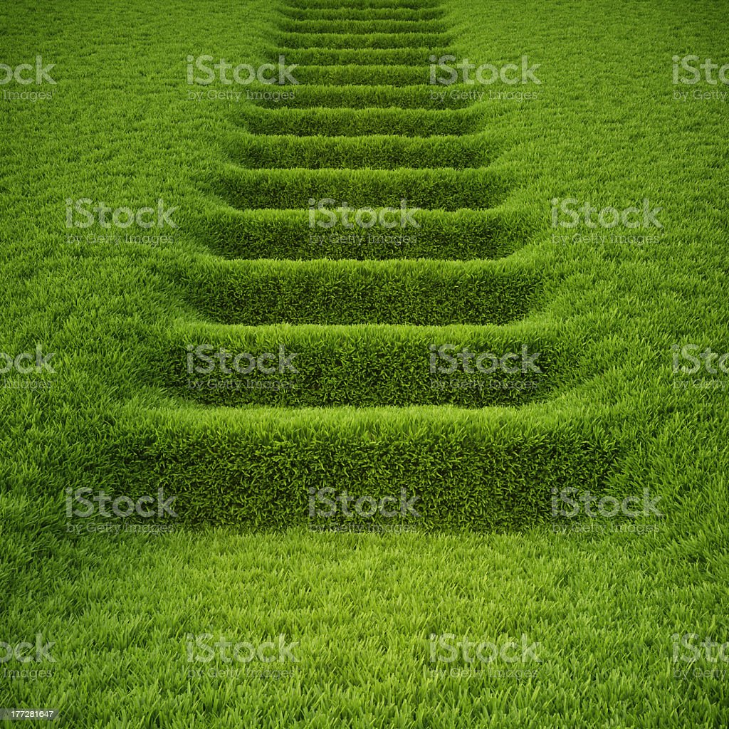 A green stairway made entirely of grass  royalty-free stock photo