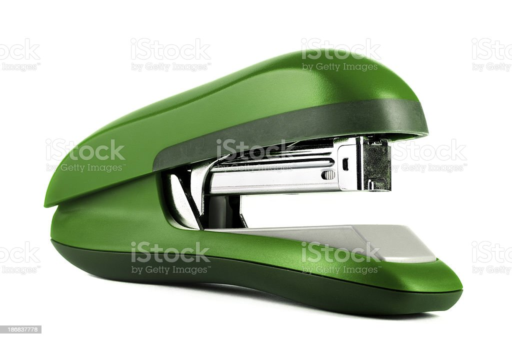 Green stapler isolated royalty-free stock photo