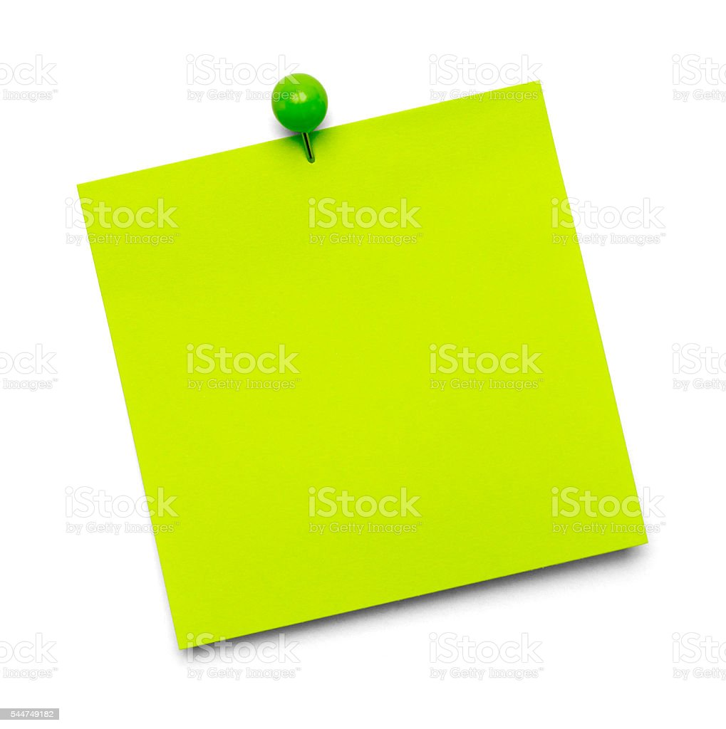 Green Sticky Note stock photo
