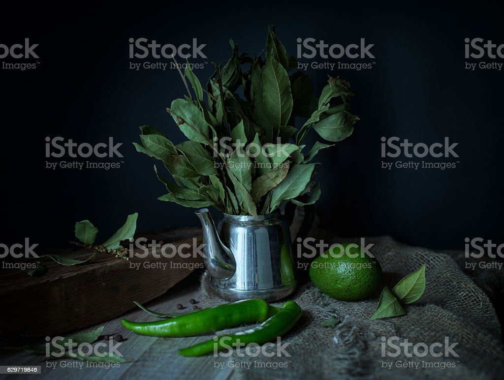 Green still-life in a rustic style stock photo