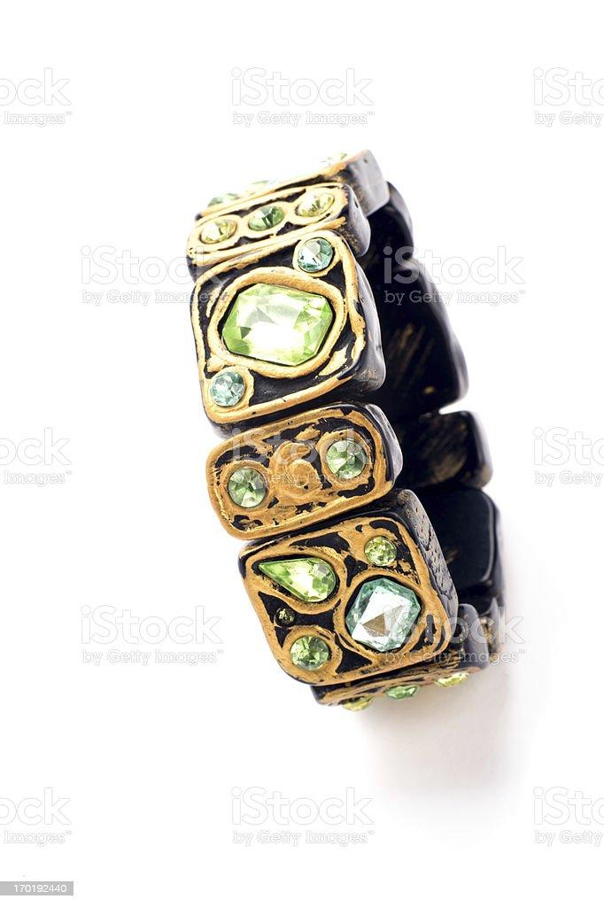Green Stone Bracelet on White royalty-free stock photo
