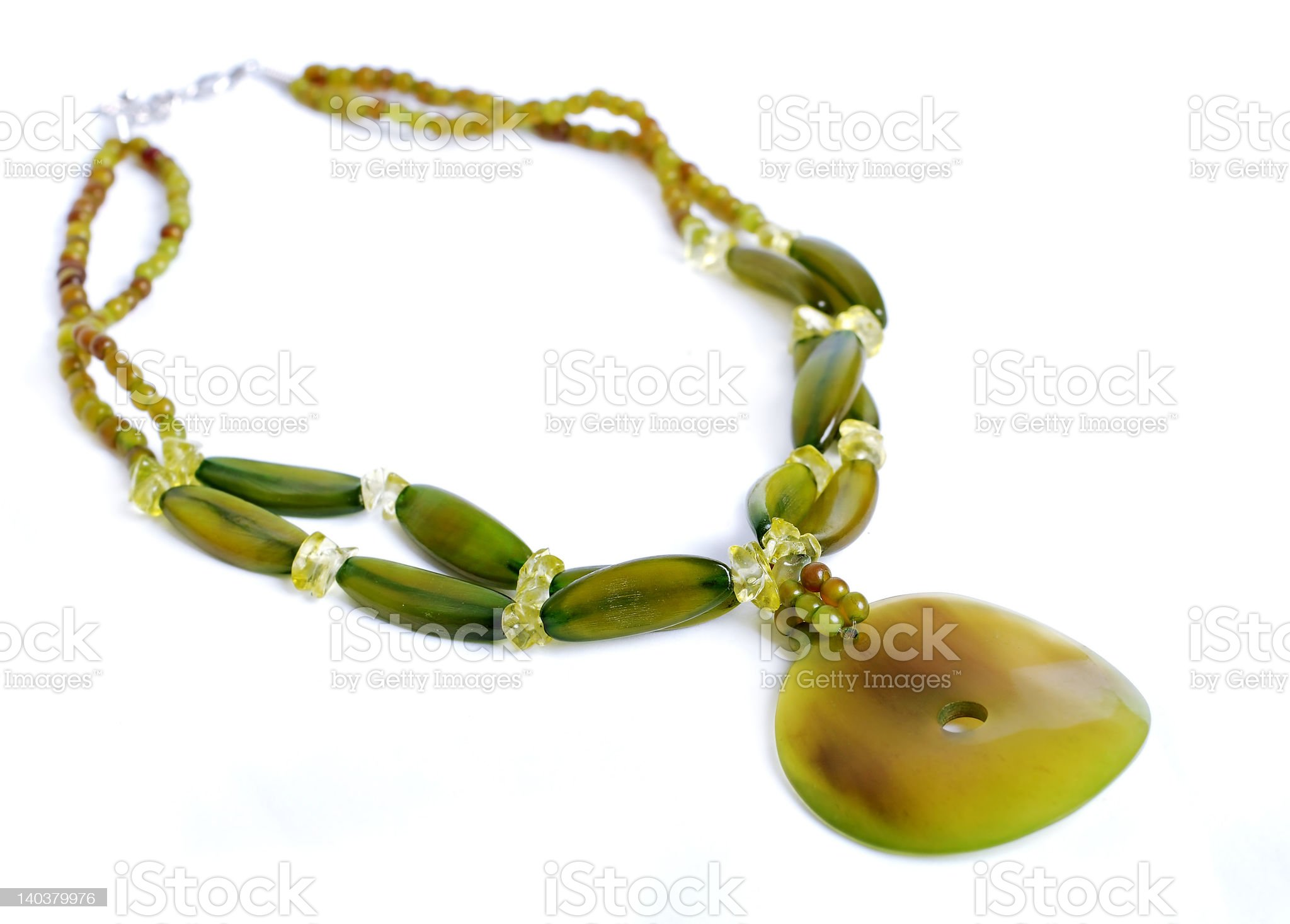 Green stone necklace royalty-free stock photo
