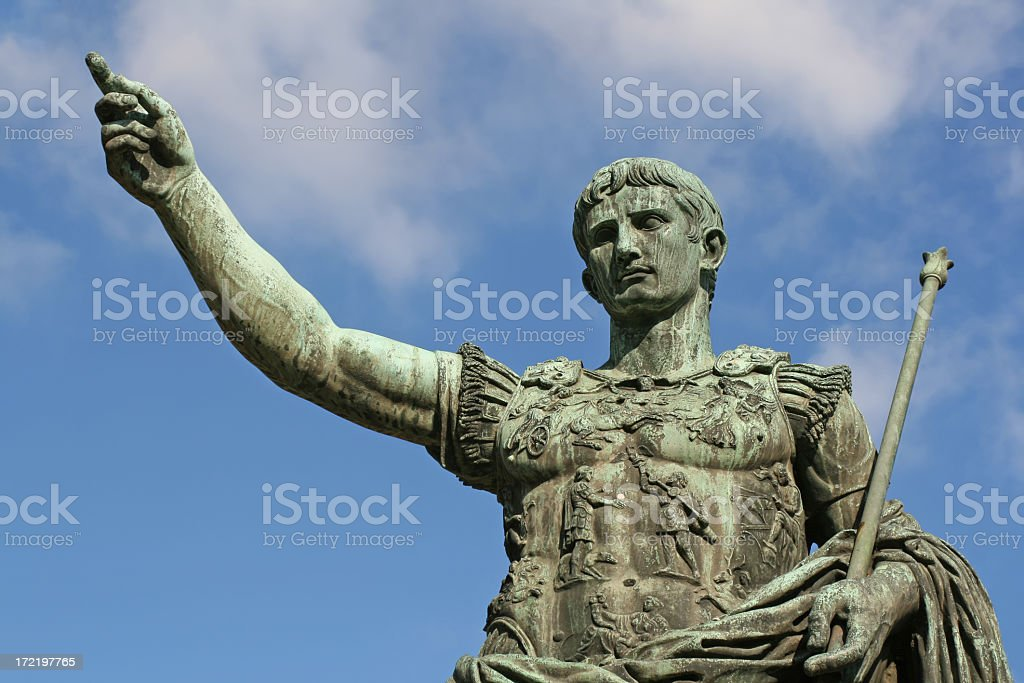 Green stone statue of Caesar Augustus in Rome, Italy stock photo