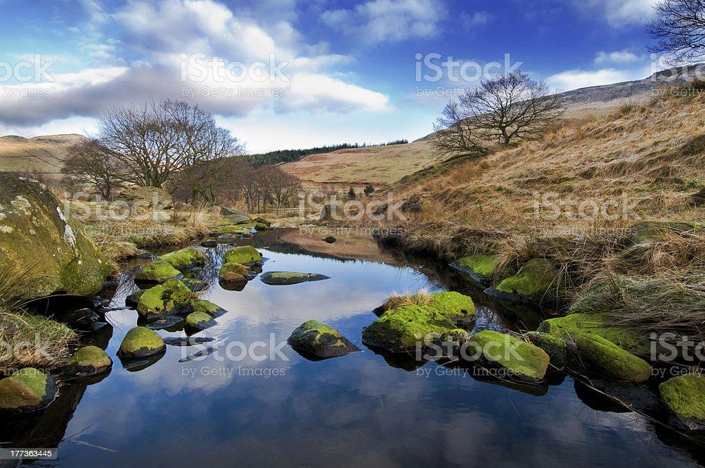 green stones blue skies landscape of peak district stock photo