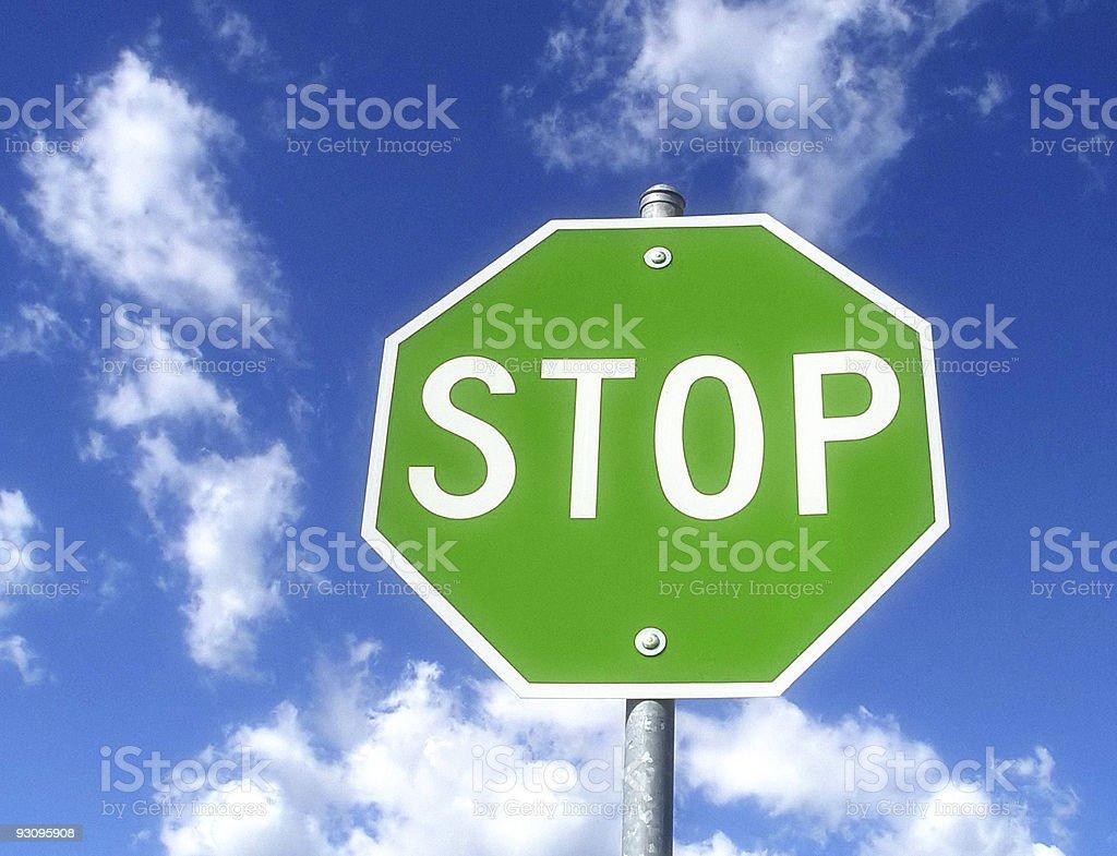 Green Stop Sign Oxymoron stock photo
