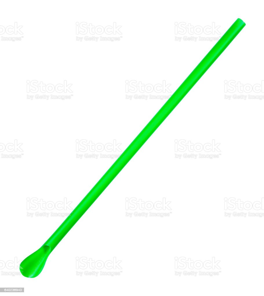 green straw isolated on white background.Straw with spoon isolated stock photo