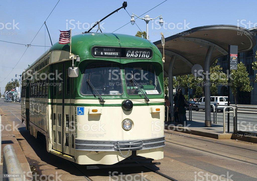 Green street car in San Francisco royalty-free stock photo