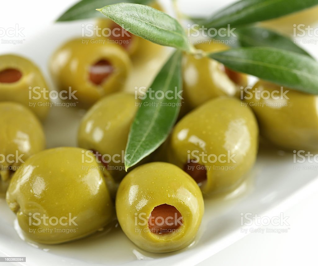 Green Stuffed Olives stock photo