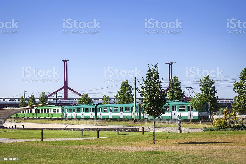 Green suburb train in Budapest royalty-free stock photo