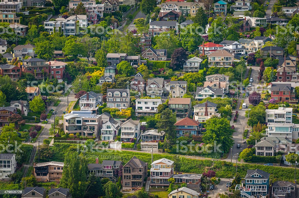 Green suburban streets luxury family homes aerial view Seattle USA stock photo