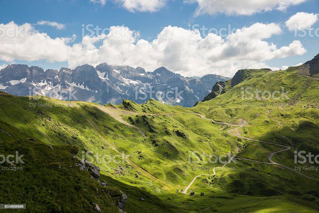 green summer alpine landscape, Swiss Alps mountain massif, Switzerland stock photo