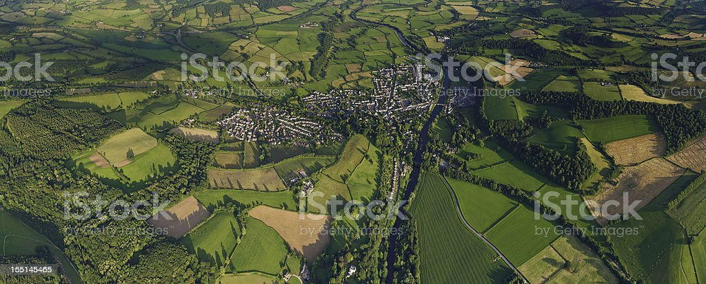 Green summer fields country town aerial panorama royalty-free stock photo