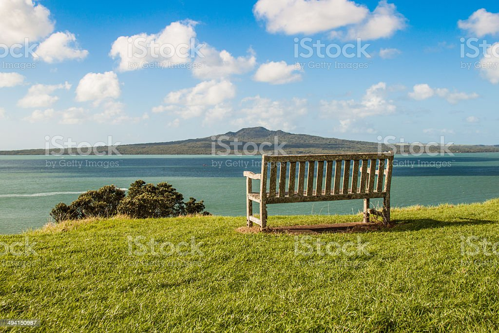 Green summer landscape with a volcanic island stock photo