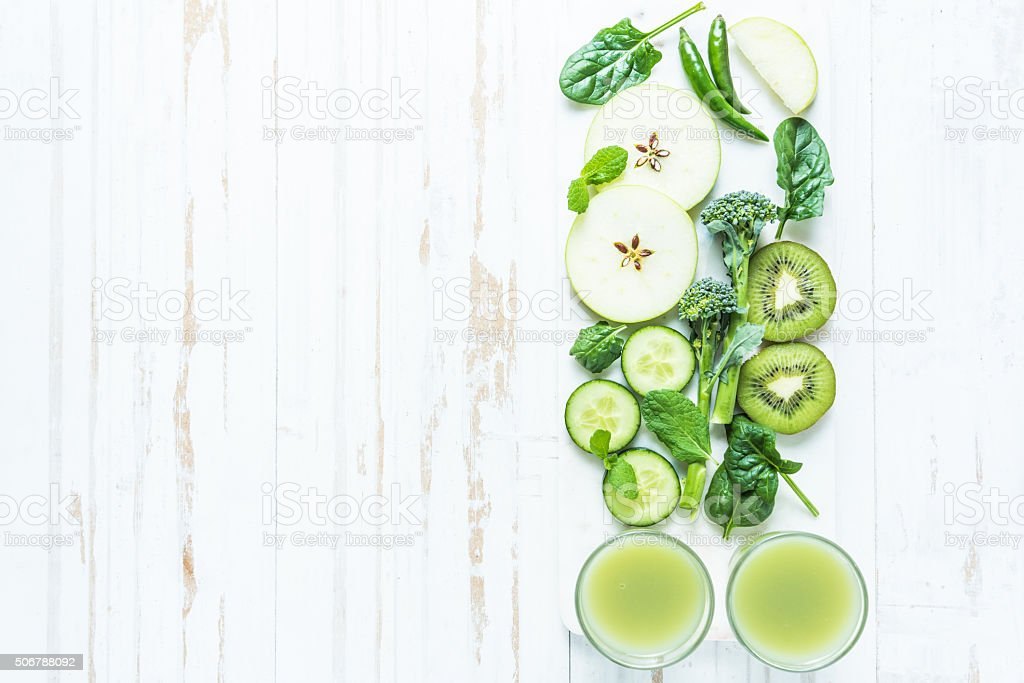 Green super smoothie recipe stock photo