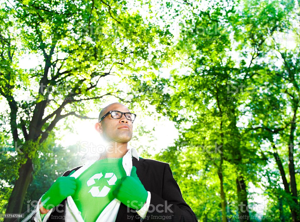 Green Superhero Businessman Leading the way royalty-free stock photo