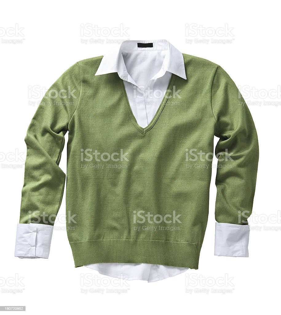 green sweater on white background royalty-free stock photo