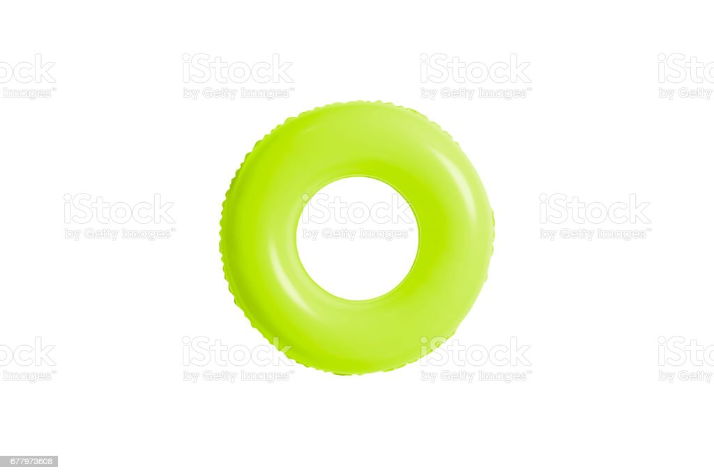 green swimming pool ring isolated on white background. stock photo