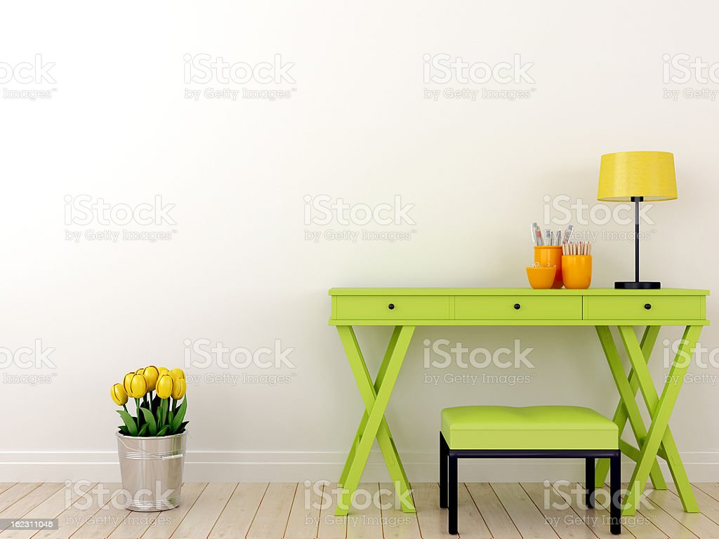 Green table and tulips stock photo