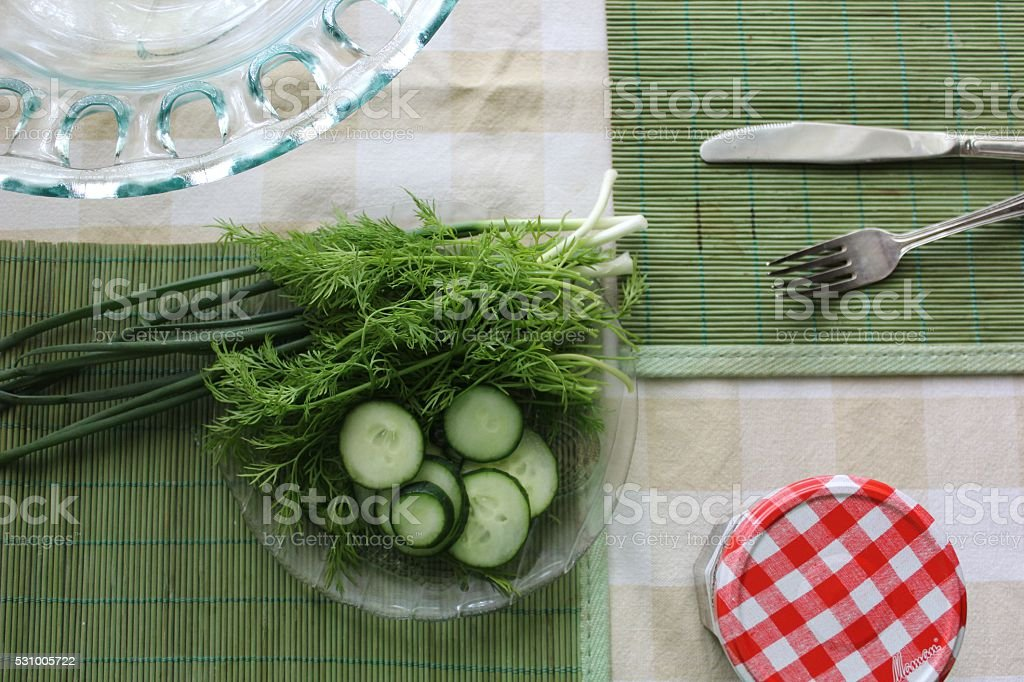Green table  breakfast set with salad ingredients stock photo