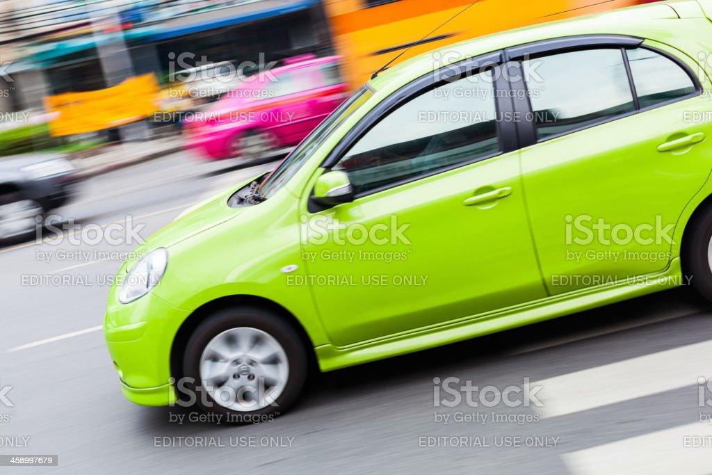 Green Taxi in Bangkok royalty-free stock photo
