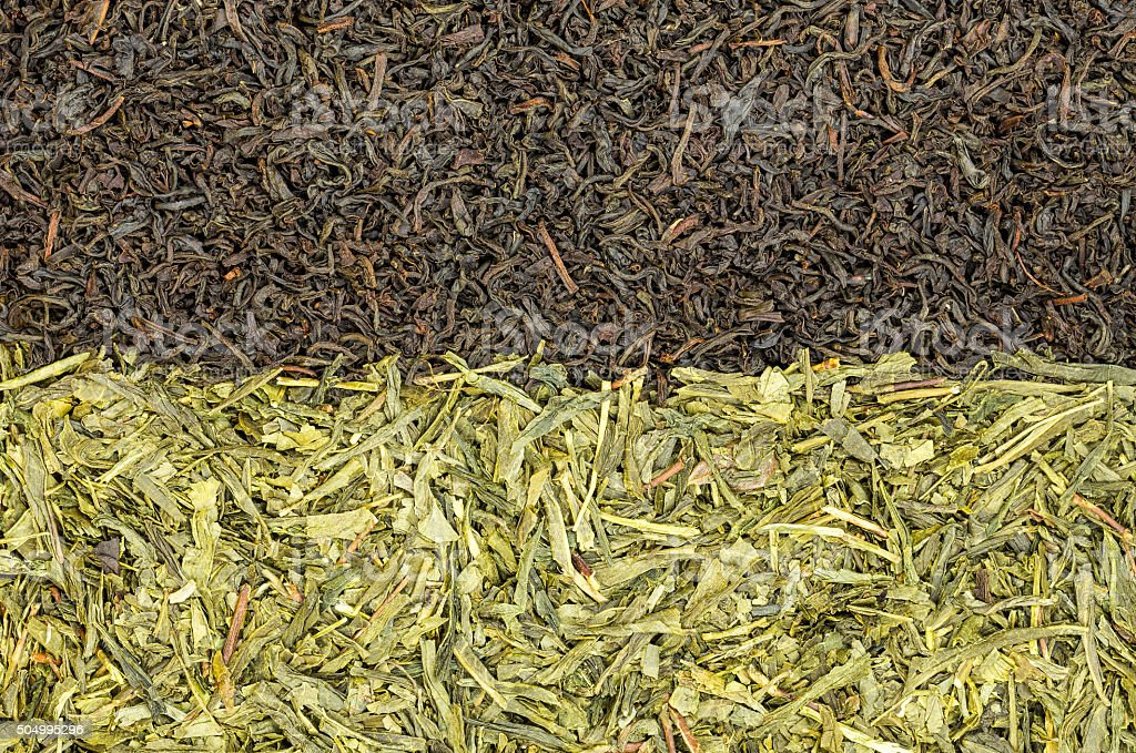 Green tea and black tea royalty-free stock photo