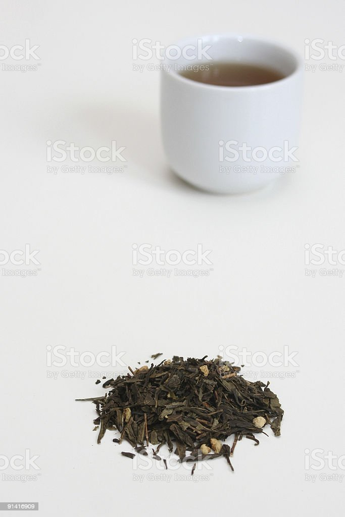 green tea and cup royalty-free stock photo