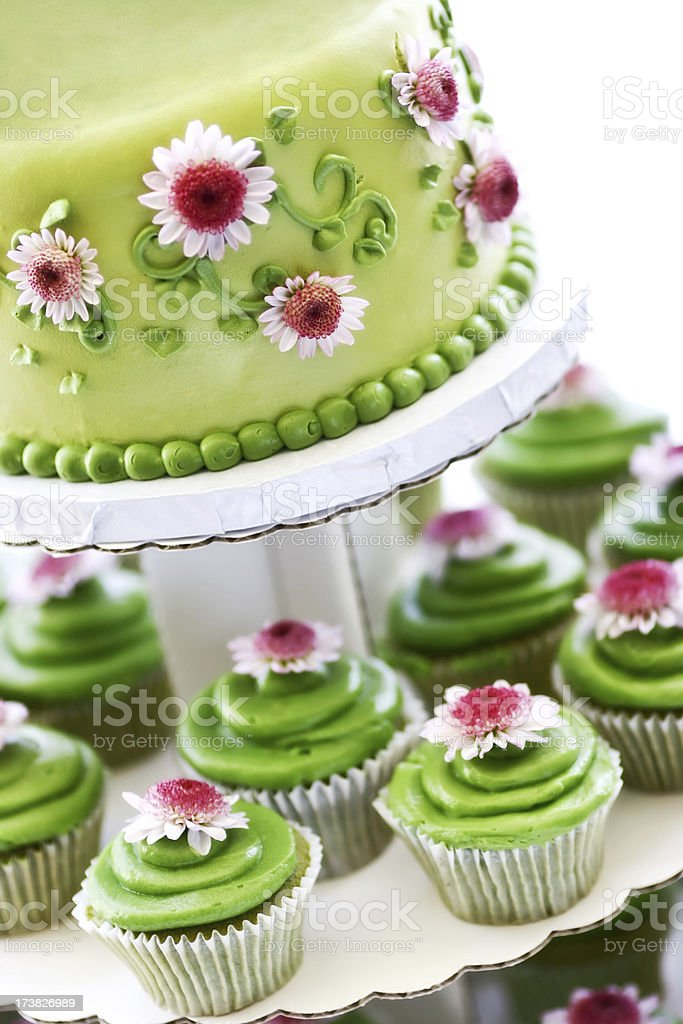 green tea and cupcake layered royalty-free stock photo