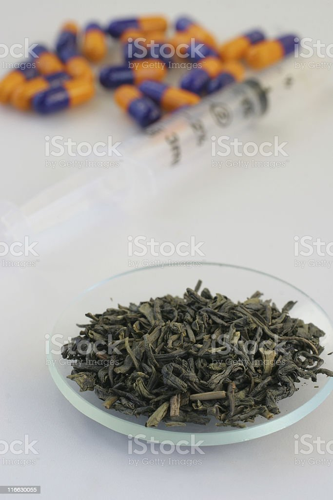 Green tea and drugs royalty-free stock photo