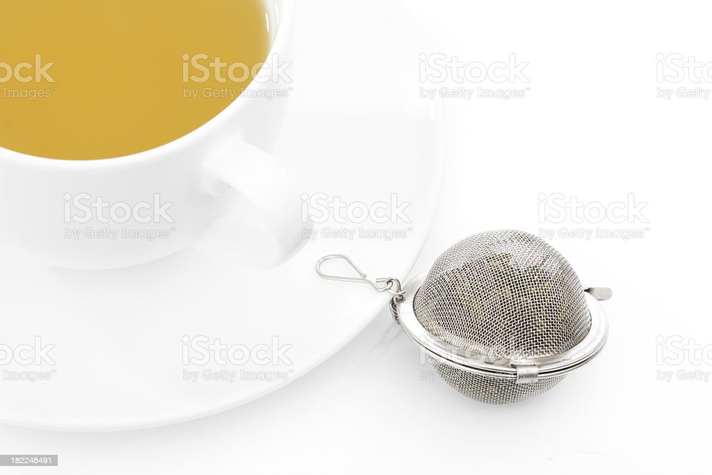 Green Tea and Infuser stock photo